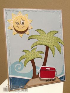 Summer card using PKS Let's Ketchup and Great Vibes Robots