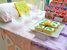 for pajama party decorate table like a bed