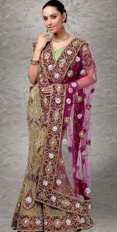 Pastel Green Net #Embroidered #Bridal #Lehenga | @ $504.46