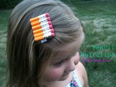 I Like Big Bows: Creative: Pencil hair clips / Colored Pencil hair clippie Diy Hairstyles, Pretty Hairstyles, Ribbon Hair Clips, Ribbon Bows, Hair Ribbons, Barrettes, Hairbows, Back To School Hairstyles, Ribbon Sculpture