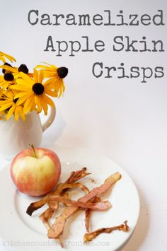 caramelized apple skin crisps. I baked mine at 300 deg for 15-20 min. At 375 they burned.