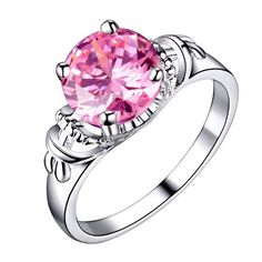 Silver Plated Pink Cubic Zirconia Ring Varius Sizes