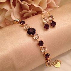 Swarovski Burgundy and Light Silk set in yellow gold tone setting set...Bridal Party 20 percent discount plus gifts for minimum purchase of $100 Girls Jewelry, Cute Jewelry, Jewelry Gifts, Unique Jewelry, Queen Fashion, Gold Fashion, Fashion Jewelry, Indian Jewelry Earrings, Crystal Jewelry