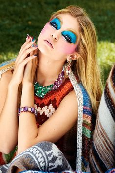 Saint Laurent by Hedi Laurent shawl, price upon request, 212-980-2970; Bulgari bracelet, $64,000, earrings and necklace, price upon request, 800-BULGARI.   - HarpersBAZAAR.com