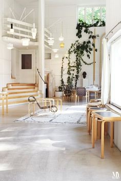 Alvar Aalto outgrew the modest studio space in his home near Helsinki, and in 1956 he re-located to a building just down the road to a design studio with soaring spaces, wide expanses of glass, and abundant light. In short: the perfect space to work.