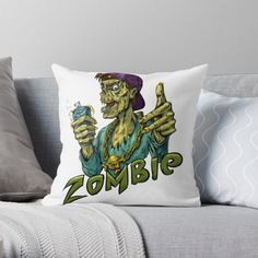 'Zombie' Throw Pillow by My Arts, Vibrant, It Is Finished, Throw Pillows, Art Prints, Cool Stuff, Printed, Awesome, Artist