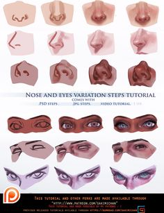 Face Drawing Nose and eyes variation steps tutorial. by sakimichan (anime face drawing) - Digital Painting Tutorials, Digital Art Tutorial, Art Tutorials, Digital Paintings, Drawing Tutorials, Painting Tips, Drawing Techniques, Drawing Tips, Drawing Sketches