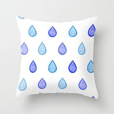 """Blue raindrops"" Throw Pillow by Savousepate on Society6 #throwpillow #pillow #homedecor #pattern #zentangle #raindrops #rain #drops #water #white #blue #navyblue #turquoise #aquablue"