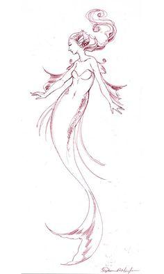 Mermaid - Original Ink Drawing - by Stephanie Pui-Mun Law. $35.00, via Etsy.