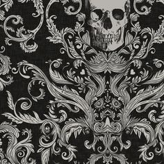 Dread Damask in Crisp Black Linen fabric by willowlanetextiles on Spoonflower Bespoke Fabric! Macabre Skull Haunted House Cosplay Fabric and Wallpaper, perfect for Halloween! Wallpaper Stencil, Custom Wallpaper, Unique Wallpaper, Burlap Fabric, Linen Fabric, Wall Fabric, Fabric Shop, Satin Fabric, Skull Decor
