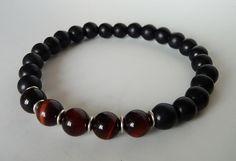 Matte Black Onyx Bracelet,Red Tiger Eye Bracelet, Wrist Mala, Yoga Bracelet, Energy Bracelet, Meditation Bracelet - Tribal Chic Jewelry