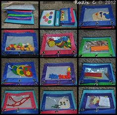 Activity Bag Notebook~ I want to do this but filled with CVI activities Toddler Fun, Toddler Preschool, Preschool Activities, Toddler Games, Family Activities, Motor Activities, Educational Activities, Indoor Activities, Summer Activities