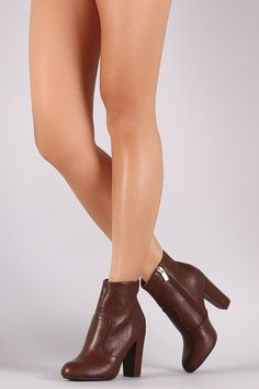 Bamboo Plain Chunky Heeled Ankle Boots