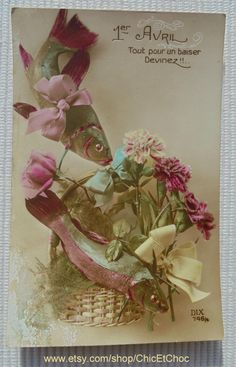 Vintage French Postcard - Poisson D'Avril / April 1st by ChicEtChoc on Etsy