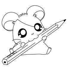 cute hamtaro with a pencil coloring pages printable and coloring book to print for free. Find more coloring pages online for kids and adults of cute hamtaro with a pencil coloring pages to print. Puppy Coloring Pages, Unicorn Coloring Pages, Easy Coloring Pages, Cat Coloring Page, Coloring Books, Coloring Sheets, Kids Coloring, Colouring, Adult Coloring