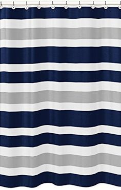 Navy Blue, Gray and White Kids Bathroom Fabric Bath Teen Stripe Shower Curtain Sweet Jojo Designs http://www.amazon.com/dp/B00VQGATB2/ref=cm_sw_r_pi_dp_EsPTvb0F69D64