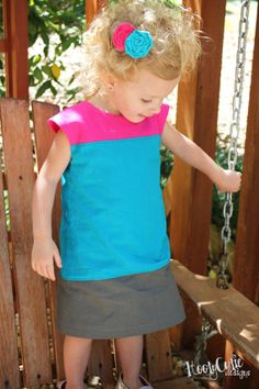 New Colorblock dress pattern and tutorial 12M-5T EASY SEW fully lined jumper tunic - 5,15 e