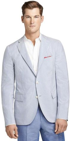 Light Blue Vertical Striped Seersucker Blazer by Brooks Brothers. Buy for $1,098 from Brooks Brothers