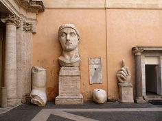Busto de la estatua colosal de Constantino en la Basílica Nova de Roma (Museos Capitolinos)