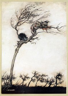 Some say no evil thing that walks by night  In fog, or fire, by lake or moorish fen,  Blew leager hag or stubborn unlaid ghost  That breaks its magic chains at curfeu time;  No goblin, or swart faery of the mine,  Hath hurtful power o'er true virginity    Arthur Rackham, from Comus, by John Milton, New York, London, 1921.