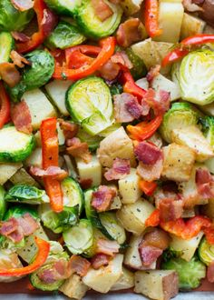 Barefeet In The Kitchen: Roasted Potatoes, Brussels Sprouts, Red Pepper and Bacon