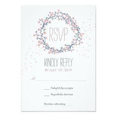 Spring RSVP Wedding Invitations White Pink Blossom Flower Wreath Wedding RSVP Card