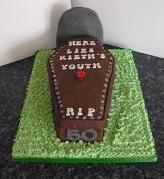 30 Birthday Cake, Daddy Birthday, Adult Birthday Cakes, Halloween Coffin, Halloween Cakes, Over The Hill Cakes, 50th Cake, 50th Party, Cake Trends