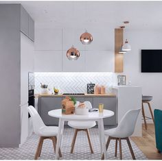 A very modern nordic kitchen in white and gray colors. White upper cabinets, and. Kitchen Room Design, Dining Room Design, Home Decor Kitchen, Interior Design Kitchen, Home Kitchens, Small Apartment Interior, Apartment Kitchen, Nordic Kitchen, New Kitchen