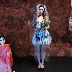 New Ghost Bride Dead Wedding Adult Fancy Dress Deluxe Halloween Costumes  Outfit