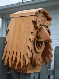 Intricate Huge Old Hag / Sea Wench Cedar Birdhouse / Witch