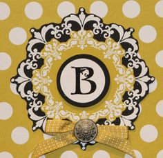 handmade monogram card ... initial printed on a a circle ... layered medallions ... would be great in other combos with a dark and a light paper to accent the initial ... Stampin' Up!