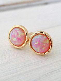 Opal earrings   Bright Pink Opal stud earrings by EldorTinaJewelry on Etsy   http://etsy.me/1m3IDxs