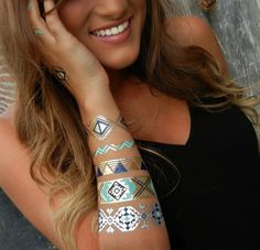 Aztec Jewelry, Turquoise Bracelet, Metallic Tattoos by ShimmerTatts. See our website TODAY www.ShimmerTatts.com #MetallicTattoo #TemporaryTattoos