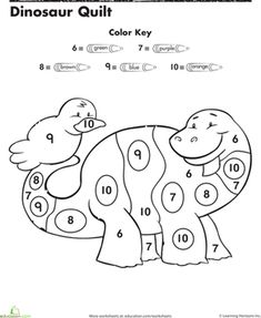 Practice color and number recognition with this worksheet, which challenges her to match colors with numbers, then color in a cute dinosaur!