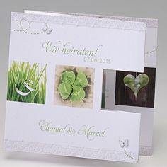Hochzeitseinladung Farah -  Weiße Einladungskarte in Zieharmonikafaltung mit grünen Motiven