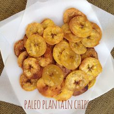 Baked plantain chips are easy to make and absolutely delicious. Thinly sliced plantains tossed in olive oil, lime, and salt make a delicious paleo snack. Baked Plantain Chips, Baked Plantains, Plantain Recipes, Paleo Chips, Veggie Chips, Lunch Recipes, Paleo Recipes, Baking Recipes, Plant Based Eating