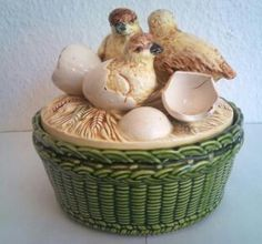 this is so unique-  ROYAL DUX MAJOLICA POTTERY (CHICKS EMERGING FROM SHELLS )