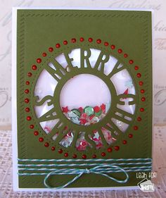 Pretty Christmas shaker card using the My Favorite Things Christmas Centerpiece die.