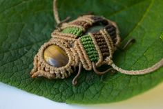 Sweet Scarab-looking macrame anclet or by MacraMentalCreations