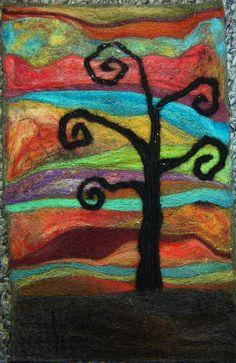 Tree felt painting
