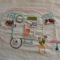 My finished embroidered caravan!