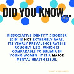Dissociative Identity Disorder is NOT rare. No matter the topic, misinformation and lack of understanding is everywhere. When errors are made or false ideas get perpetuated,they tend to go unchecked and unchallenged usually because most of us just plainly don't know enough to even realize it needed to be corrected or looked i