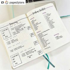 minimalist bullet journals spread | travel ideas | You've got your itinerary your packing list the days planned out and even a little section for daily budgets! Loving the double lines and simplicity with a touch of color in this travel collection  | bullet journal ideas and inspiration