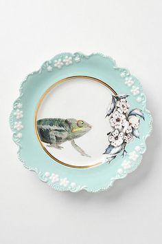 Natural World Dessert Plate, Chameleon