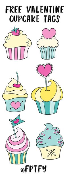 - Free Pretty Things For You - Free Valentine Cupcake Tags- Adorable! – Free Pretty Things For You - Birthday Banner Template, Happy Birthday Banners, Cupcake Art, Fondant Cupcake Toppers, Origami Templates, Box Templates, Cupcake Pictures, Freebies, Valentines Diy