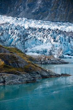 blue water and glacier