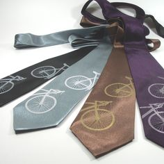 Silkscreened+Bicycle+Tie++Silk+necktie+in+four+von+projectorties,+$30,00