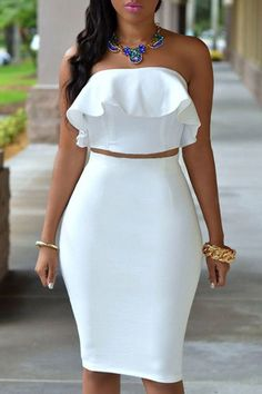 Sexy Strapless Sleeveless Flounced Tube Top + High-Waisted Bodycon Skirt Twinset For Women