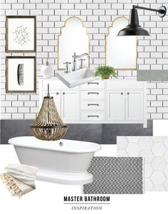 Master Bathroom inspiration board / jones design company
