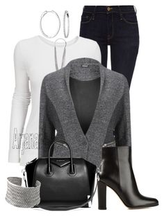 """""""CASUAL FRIDAY"""" by arjanadesign ❤ liked on Polyvore featuring Frame Denim, Pieces, 2nd Day, Gianvito Rossi, Givenchy, WorkWear and dailydenim"""
